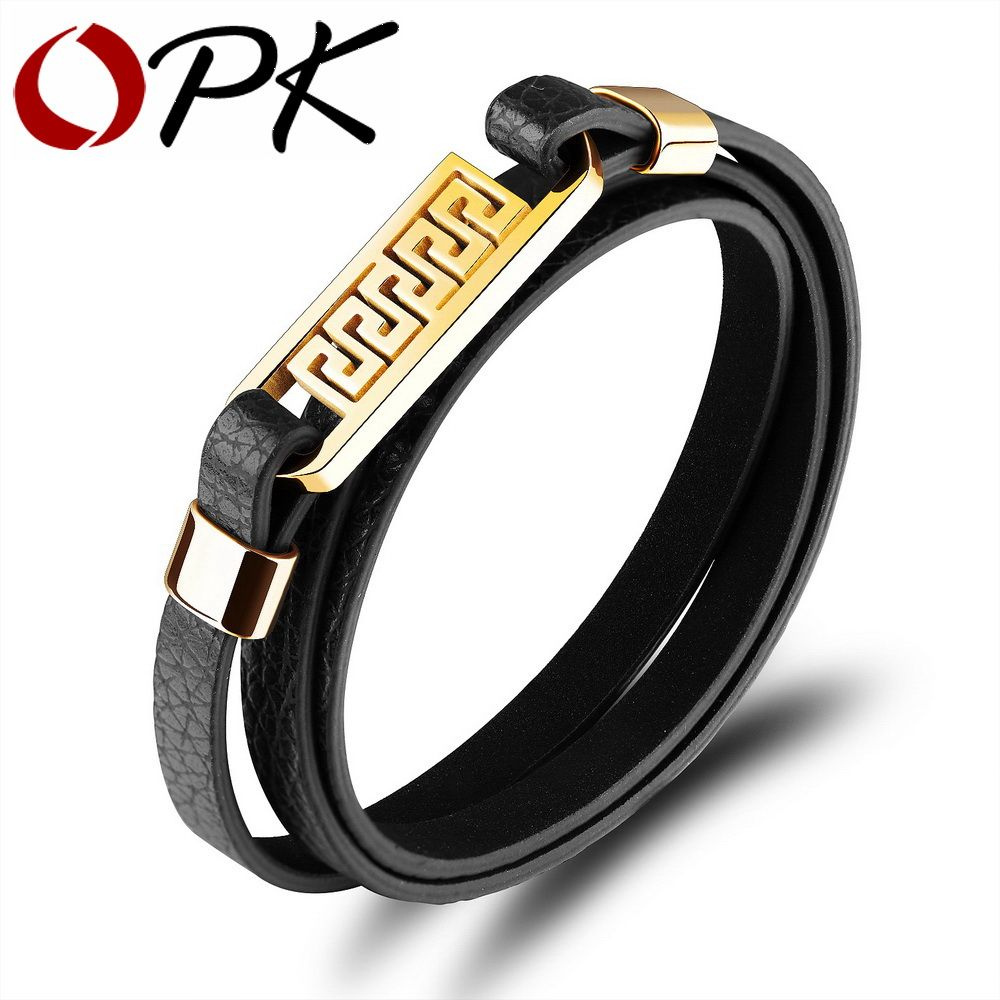 Opk three layers cowhide leather bracelets for men hollow great wall