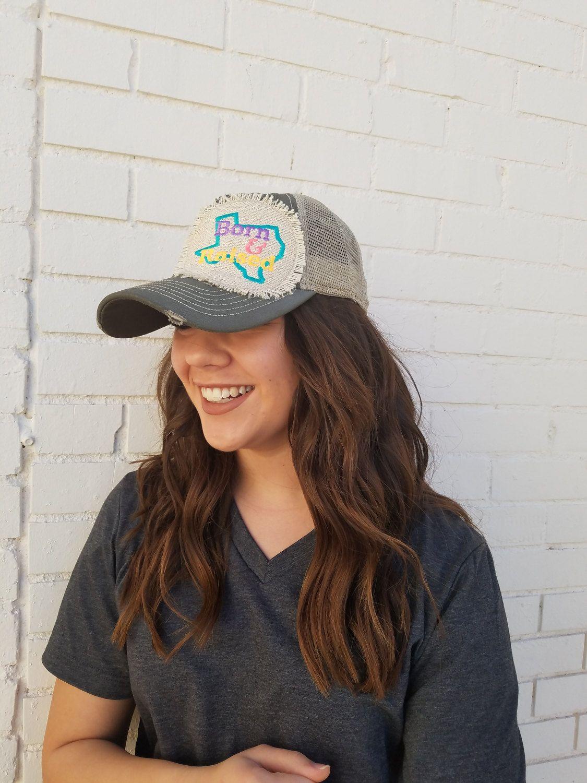 Texas Born and Raised Trucker Hat, yellow, pink, purple, turquoise, raggy  patch, womens hat, womens baseball hat, burl… | Hats for women, Womens hats  baseball, Hats