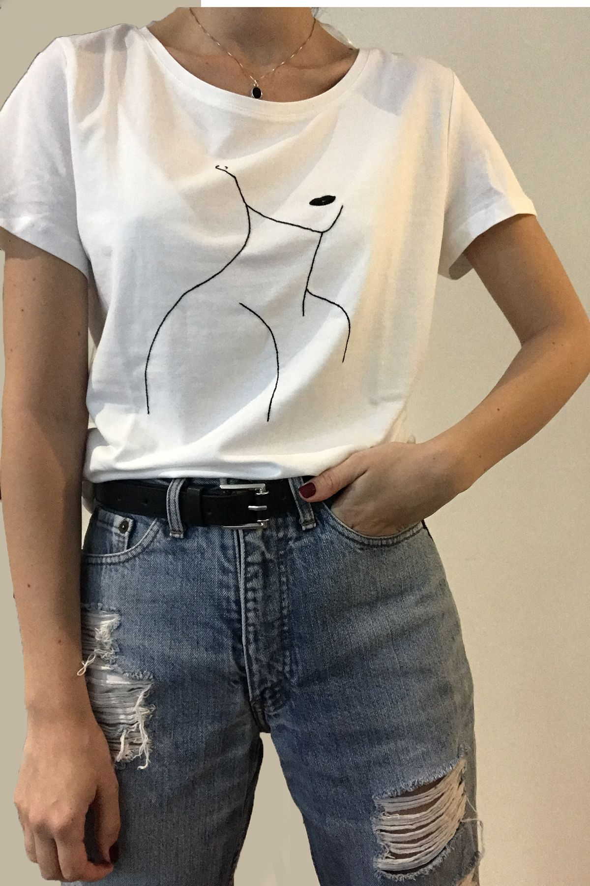 0682a669eac72 Line art face t-shirt | Hand embroidered tee | Embroidery shirt All ...
