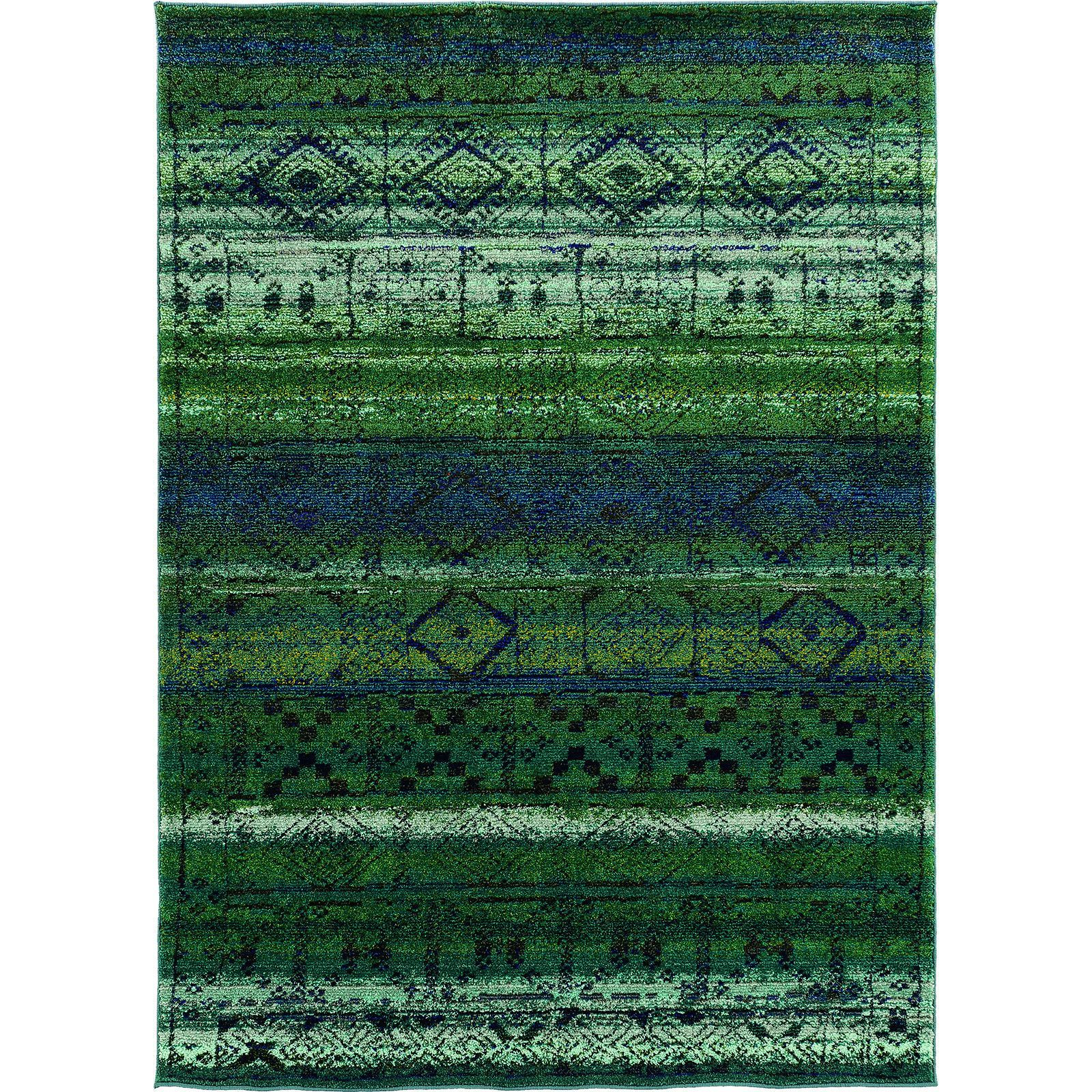 Oriental Weavers Contemporary Green Blue Polypropylene Abstract ...