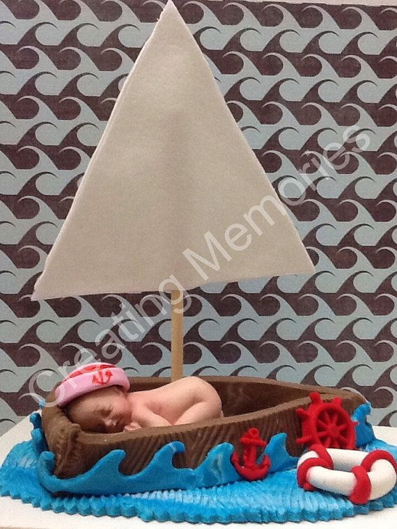 Baby In A Boat Cake Topper/BABY SHOWER/Nautical Design Cake Decorations /Fondant