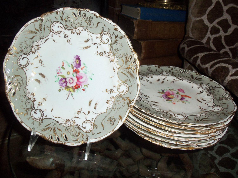 Antique Coalport Dinnerware Set / 8 Luncheon Plates/ Fine China/ Hand Painted Floral Center & Antique Coalport Dinnerware Set / 8 Luncheon Plates/ Fine China ...