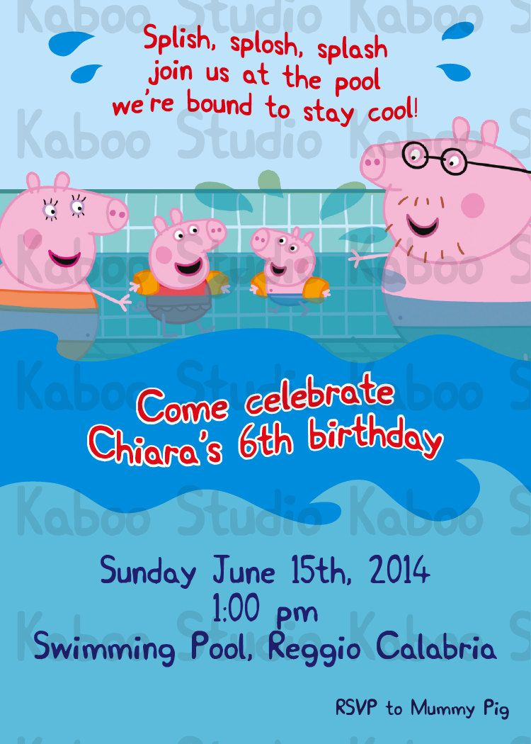 Printable Peppa Pool Party Inspired Invitation by KabooStudio on ...