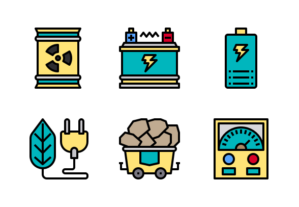 Power Energy Color Line Icons By Phat Plus Line Icon Color Lines Power Energy