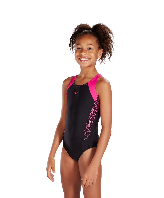 7fcba285af Speedo Endurance 10 Boom Splice Muscleback Junior Swimsuits Speedo  Black/Electric Pink 8-10844B344