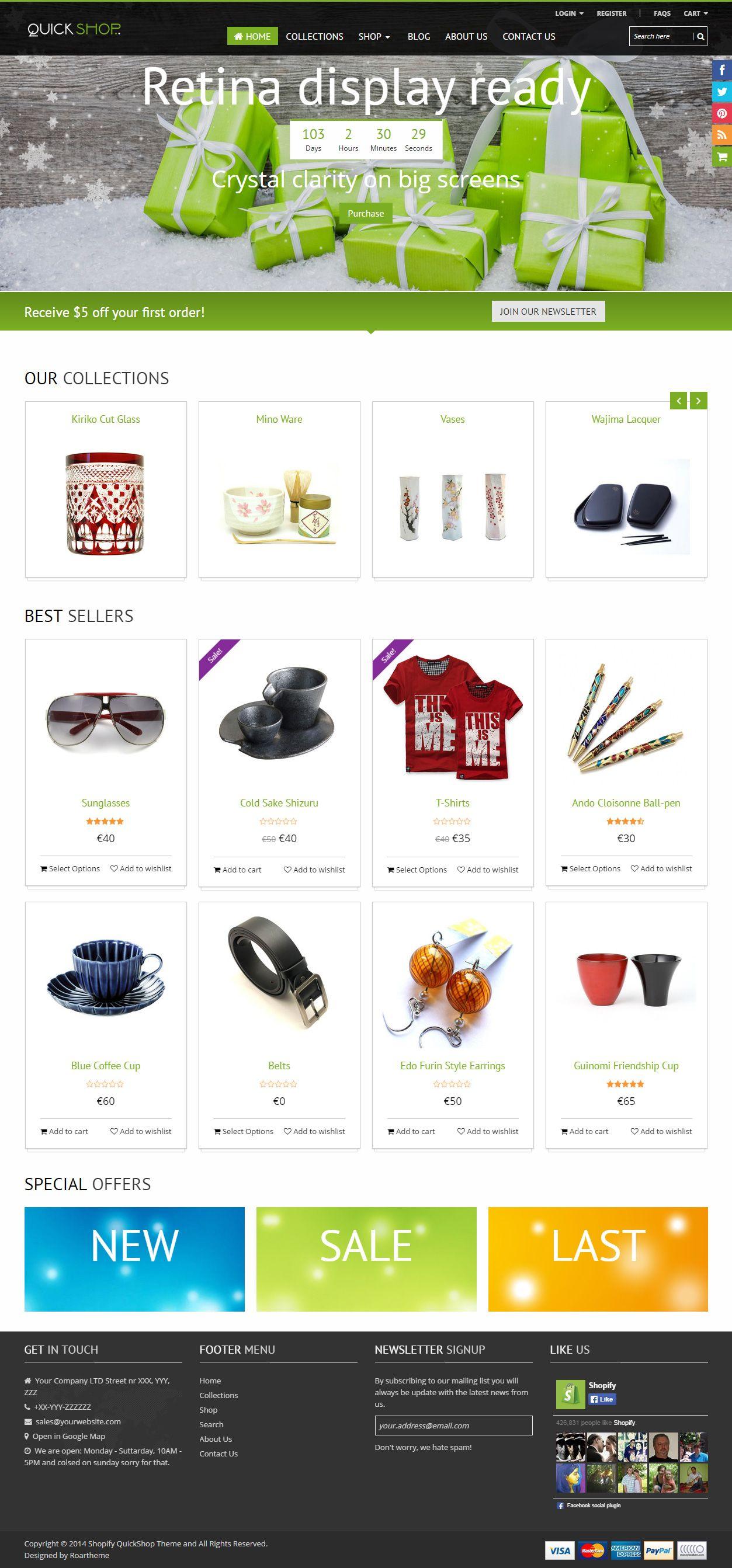 Quickshop Premium Responsive Shopify Theme Pinterest ECommerce - Mailchimp ecommerce templates