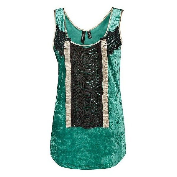 BKE Boutique Crushed Velvet Tank Top ($18) ❤ liked on Polyvore featuring tops, tank tops, shirts, tanks, green, green tank, bke boutique, black tank, black shirt and green top