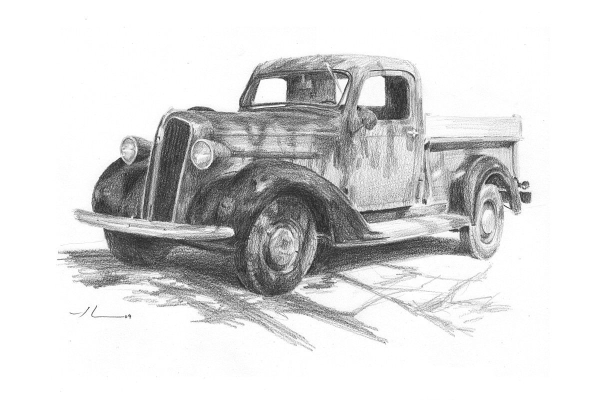 Classic truck pencil portrait