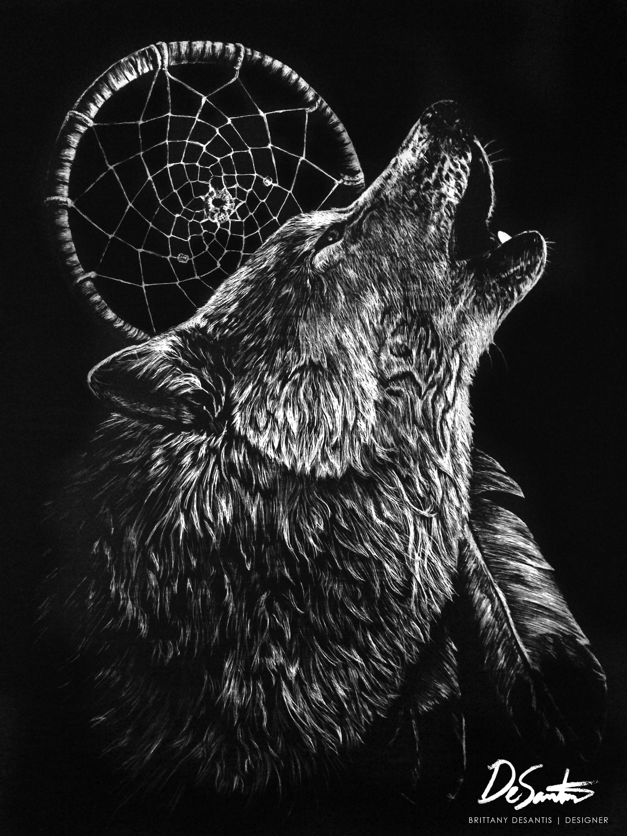 Title Dreamer's Guardian Scratchboard of howling wolf and