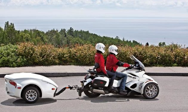 Can-Am Spyder three-wheeled motorcycle and trailer