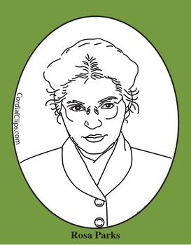 Rosa Parks Clip Art Coloring Page Or Mini Poster Black History Month Art Black And White Lines Black History Month Activities