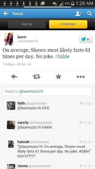 "Hahahaha Shawn's friend ""Laur"" tweeting about him..."