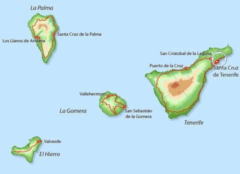 Mapa De La Provincia De Santa Cruz De Tenerife Tenerife Puerto De La Cruz Santa Cruz