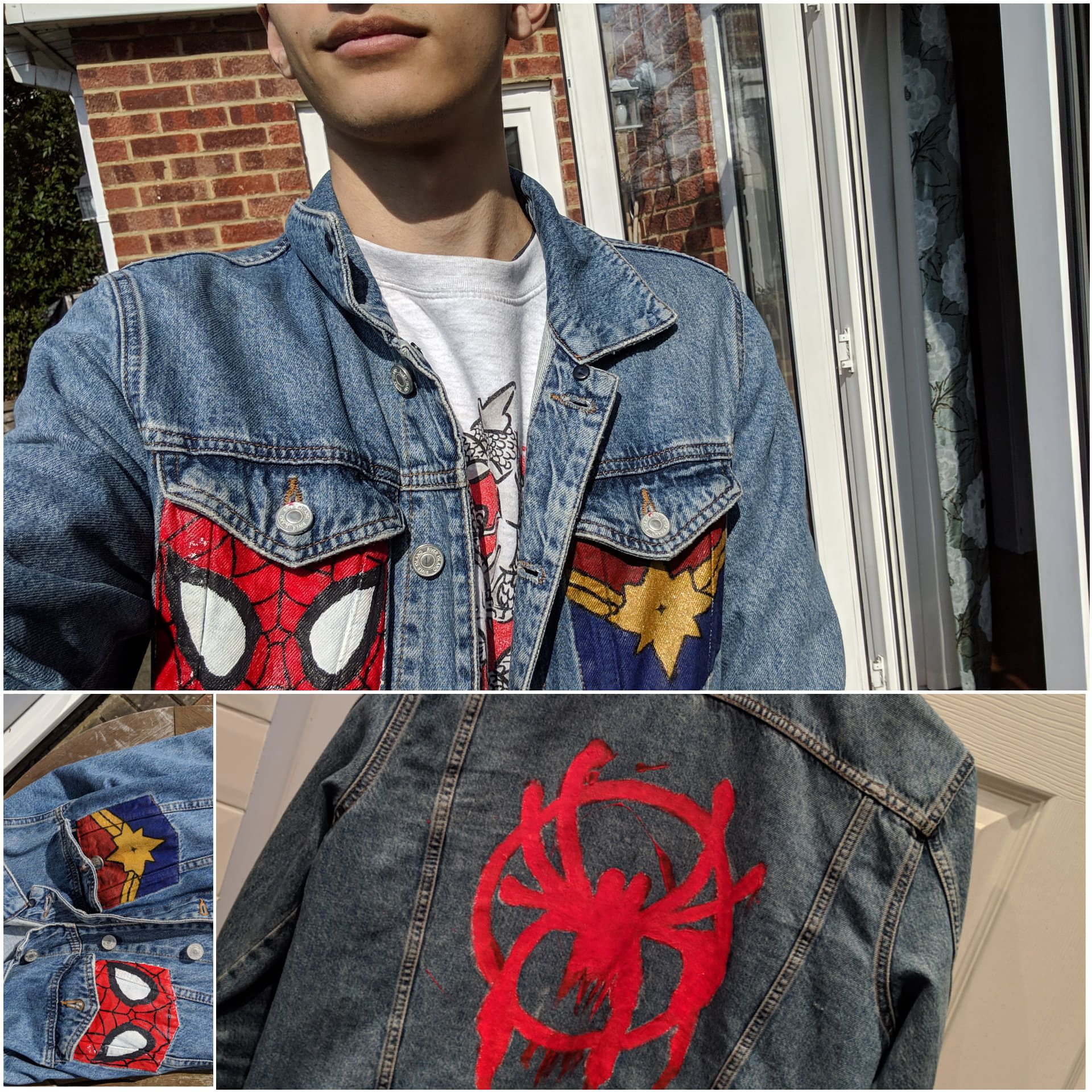 As A Guy It S Really Hard To Find Some Wearable Captain Marvel Merch So I Made My Own And Then Added Some Spidey Bits As Marvel Clothes Marvel Jacket Clothes [ 1920 x 1920 Pixel ]