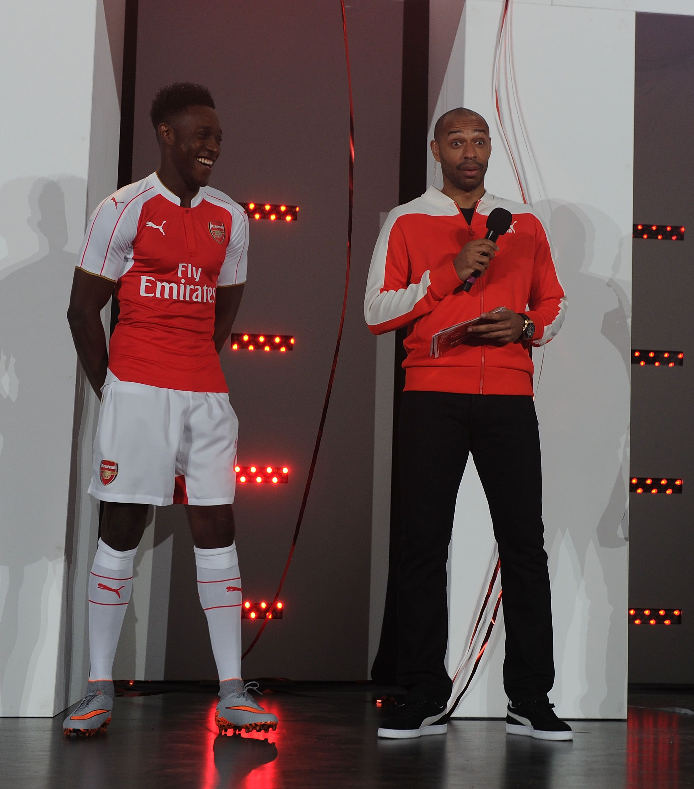 104a57a4902 Thierry Henry interviews Danny Welbeck at the launch of Arsenal s home kit  for season 2015 16 at Emirates Stadium on June 15