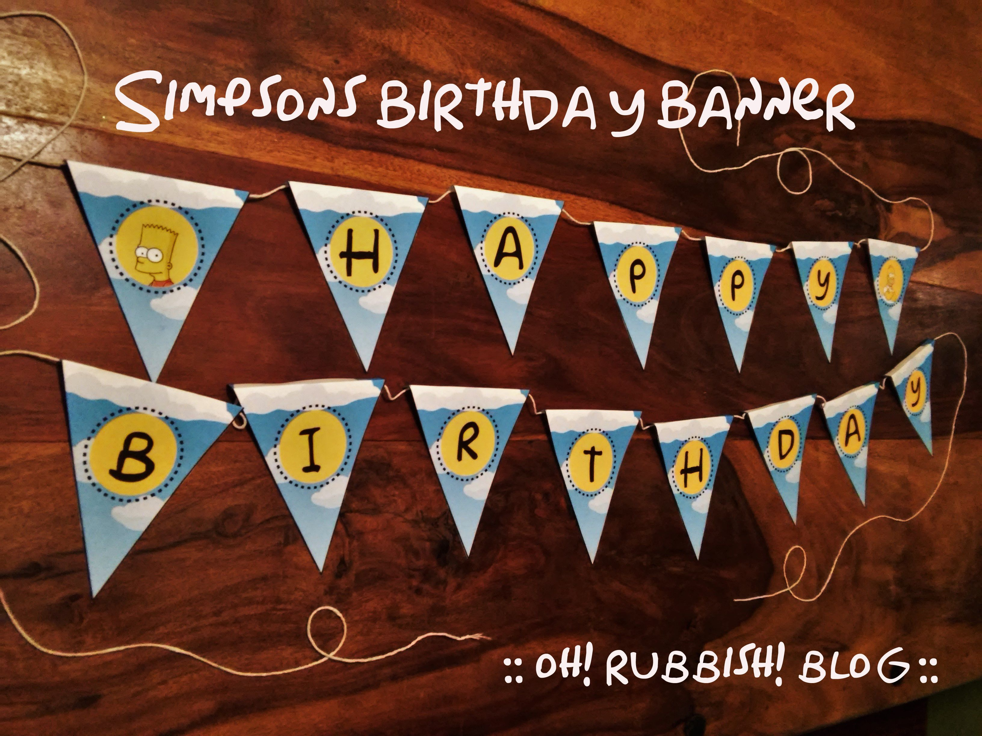 simpsons birthday banner printable :: party ideas :: decorations