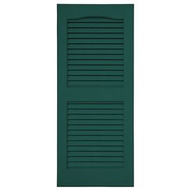 Severe Weather 2 Pack Green Louvered Vinyl Exterior Shutters Common 15 In X 51 In Actual 14 5 In X 50 5 In In 2020 Vinyl Exterior Shutters Exterior Severe Weather