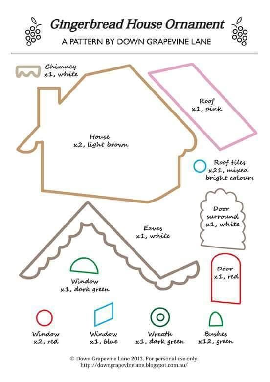 Moldes para hacer casas de Jengibre en fieltro. Related Post Patron ...