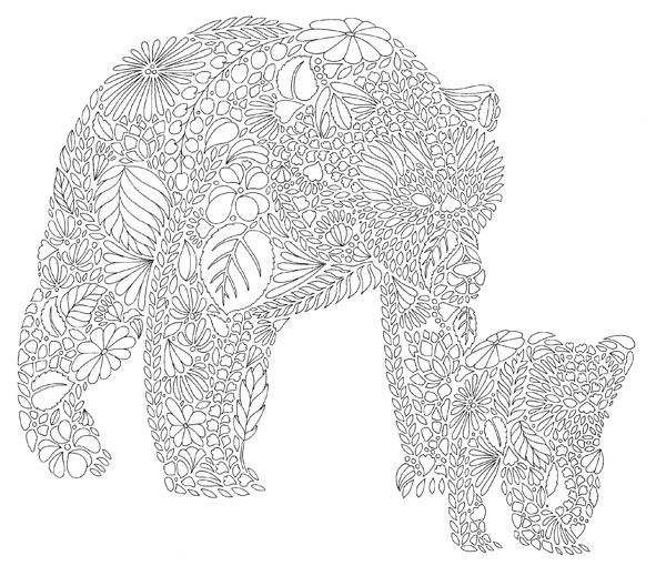Mummy Bear Baby Secret Garden Coloring BookAnimal