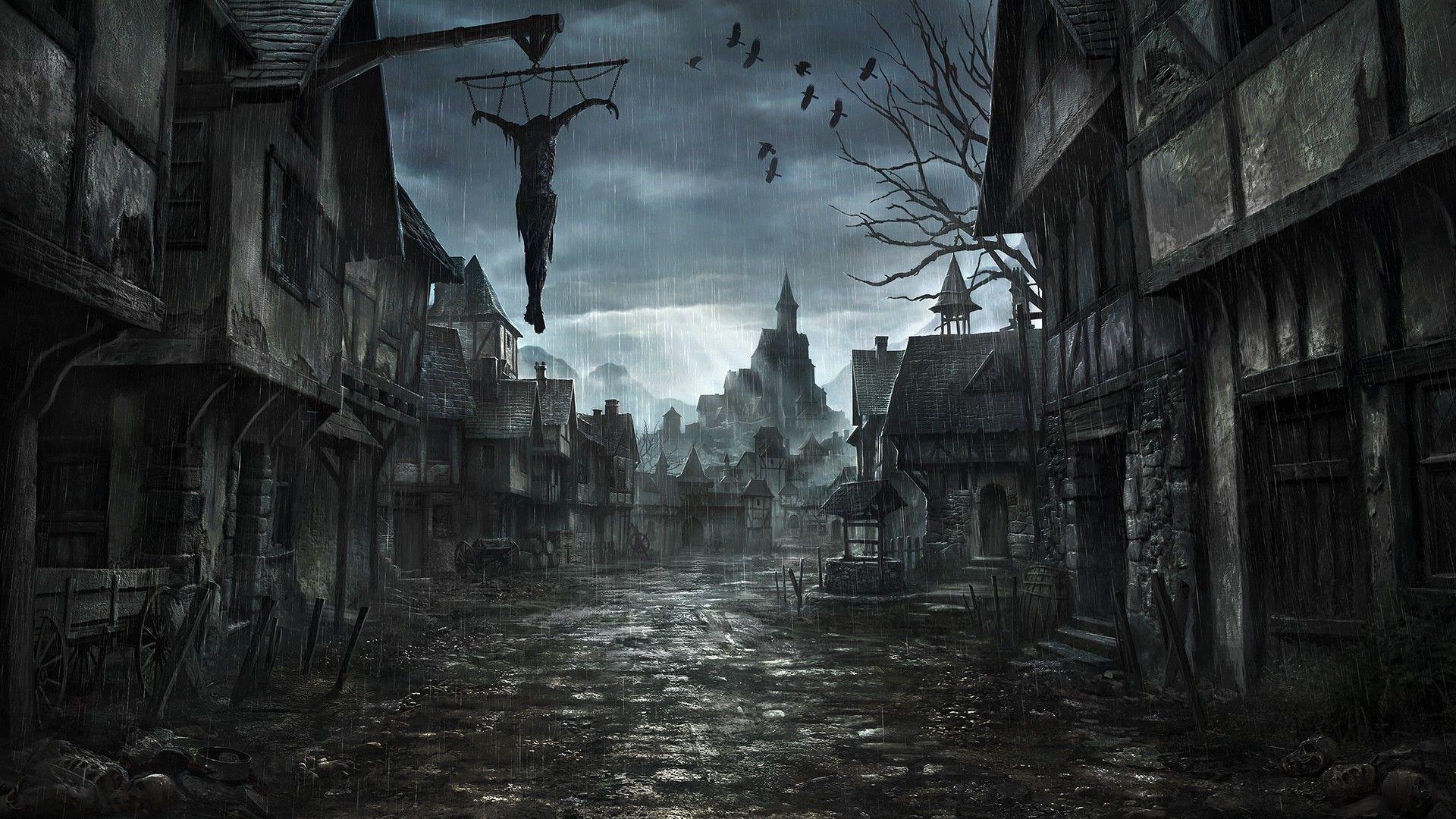 Rainy Village Street Fantasy Wallpaper Dark Art Paintings Dark Fantasy Art Creepy Backgrounds