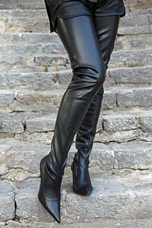 Absatz Stiefel schwarz Casual Look Damen Gr. DE 36 High Boots Heel Boots