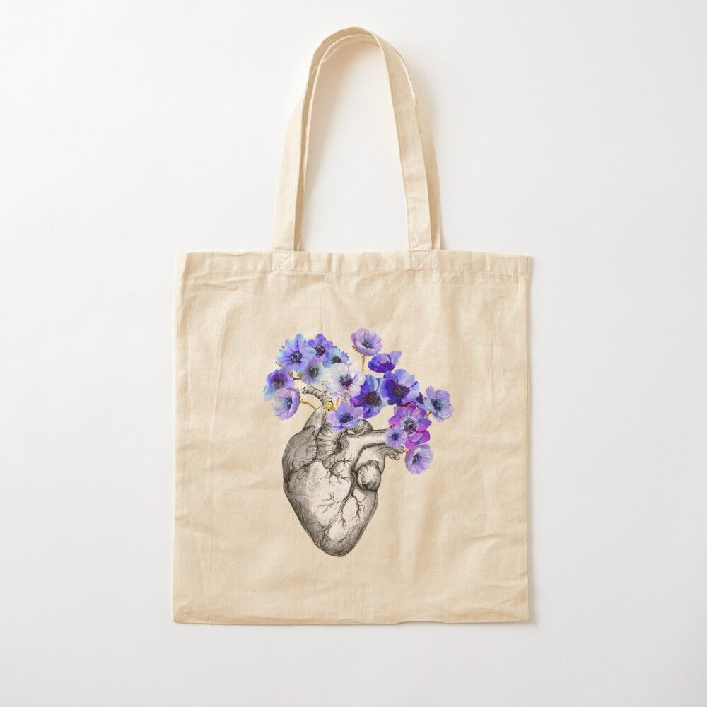 Photo of Heart, Human, Anatomy, Blue Flowers Cotton Tote Bag by Collagedream