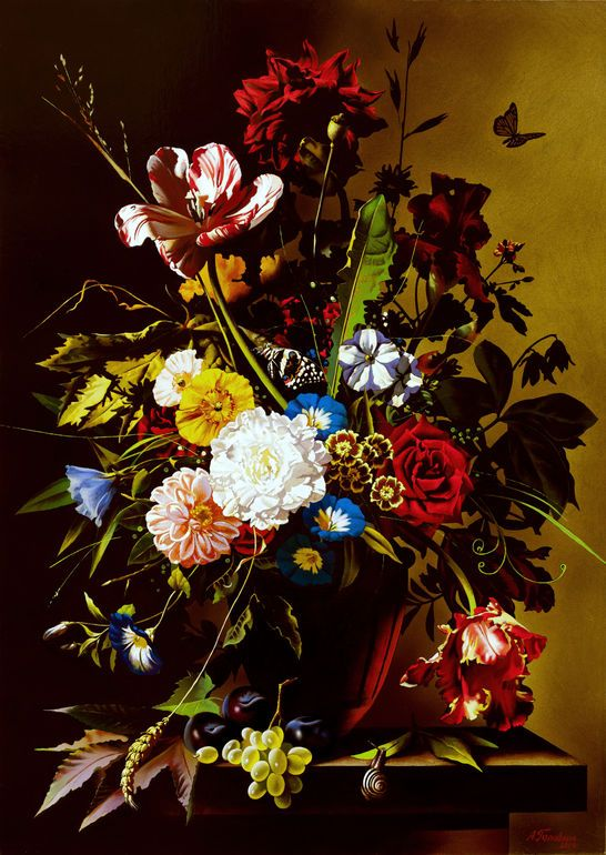 """Saatchi Art Artist: Alexey Golovin; Oil 2014 Painting """"Still Life With Butterfly"""""""