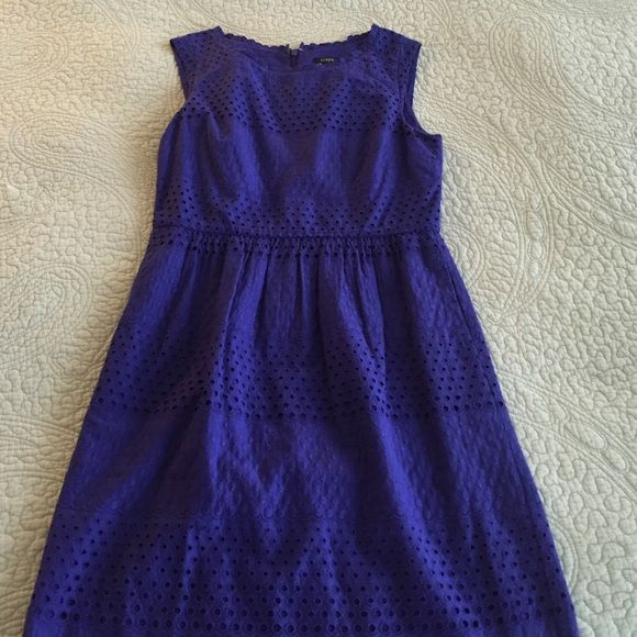 Purple eyelet dress Great lightweight summer dress! Modest slit in back. Invisible zipper in back. With pockets!! Sits to my knees (5'9). J. Crew Dresses Midi