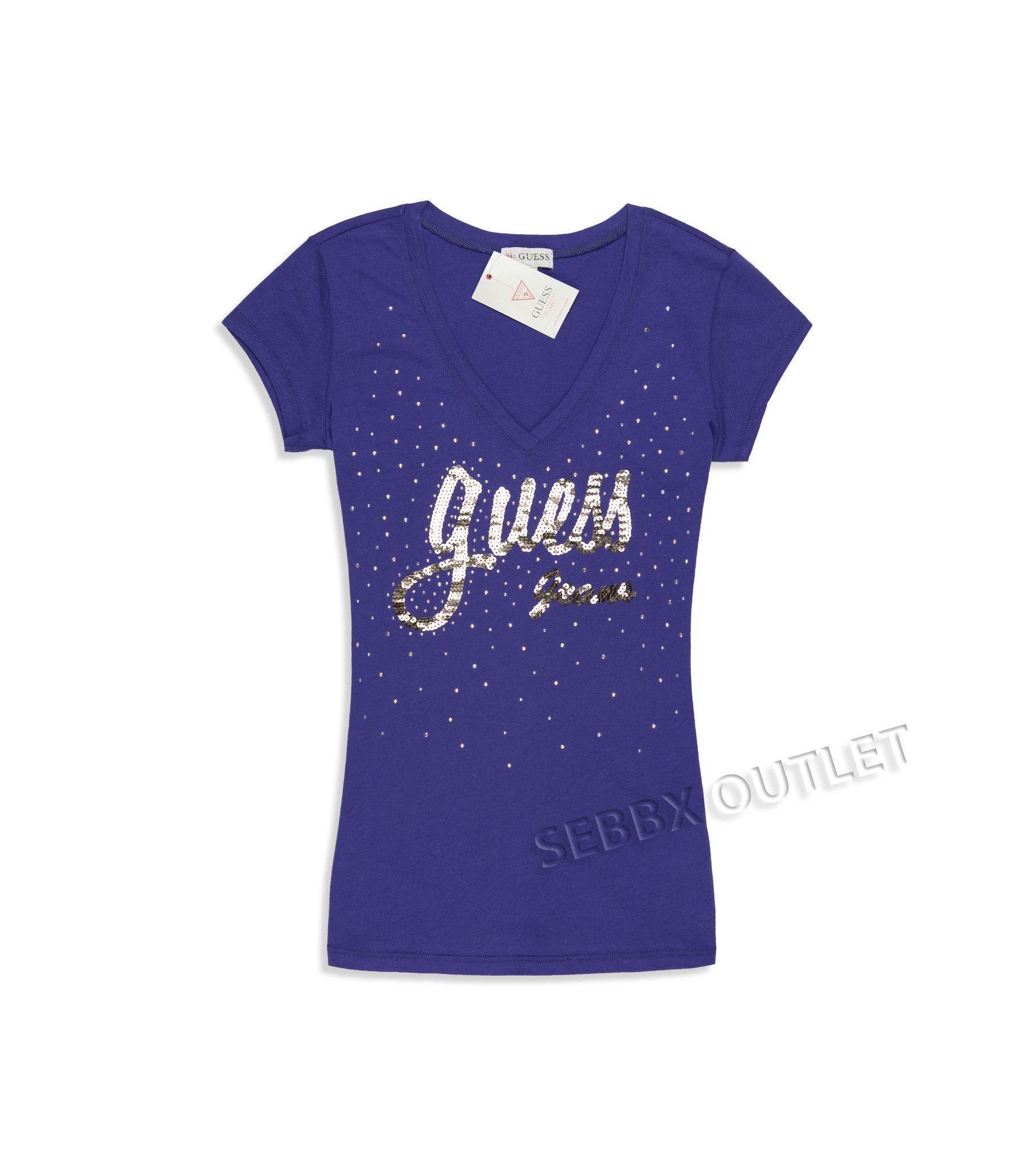 GUESS T Shirt Marylou Tee Hollywood Night Purple
