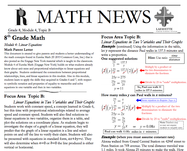 Grade 8, Module 4, Topic B, parent newsletter developed by