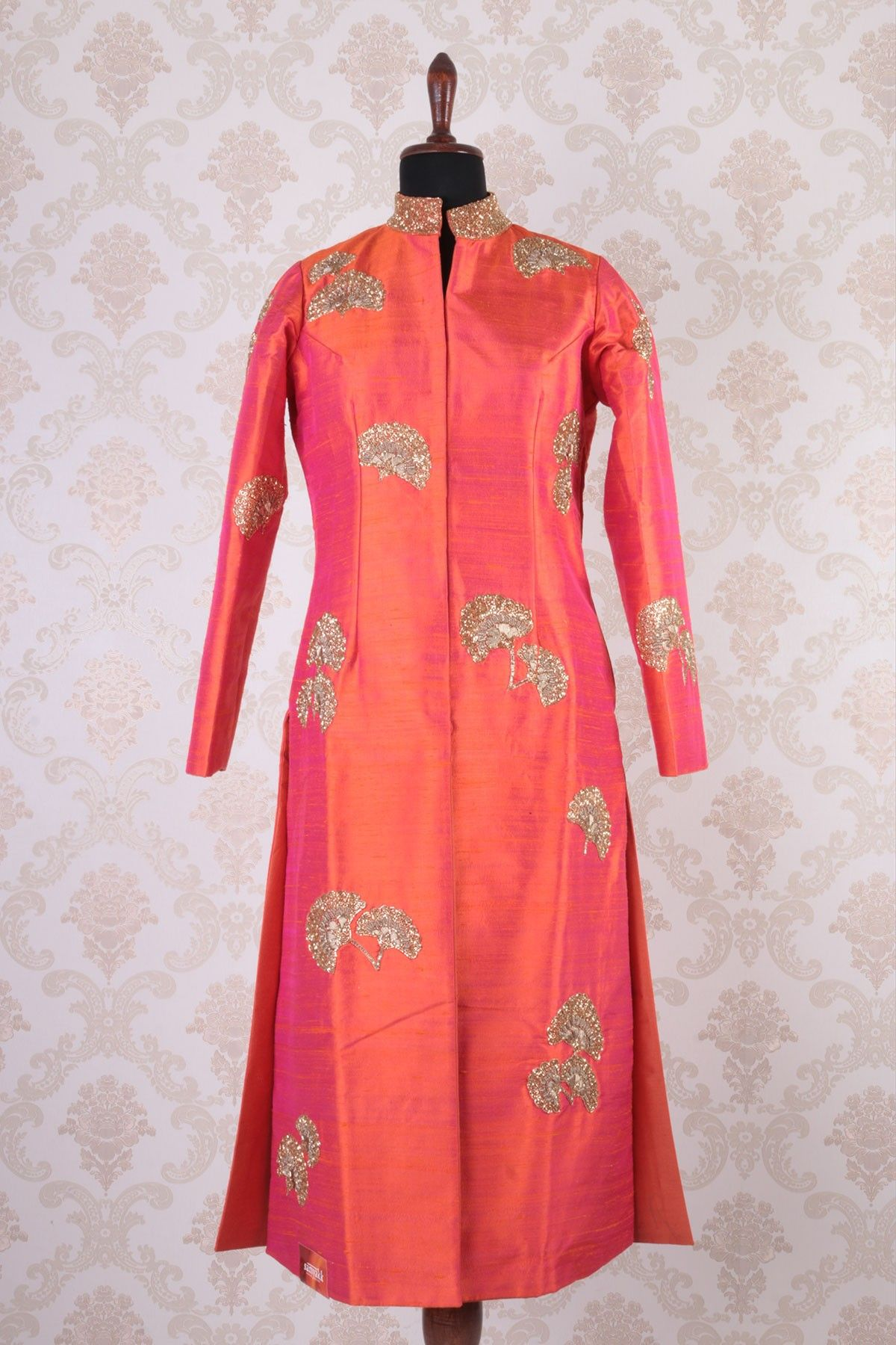 ef68d9d7d0301  Orange   rani  pink with  gold raw  silk ethereal  kameez with chinese  collar -SL4351