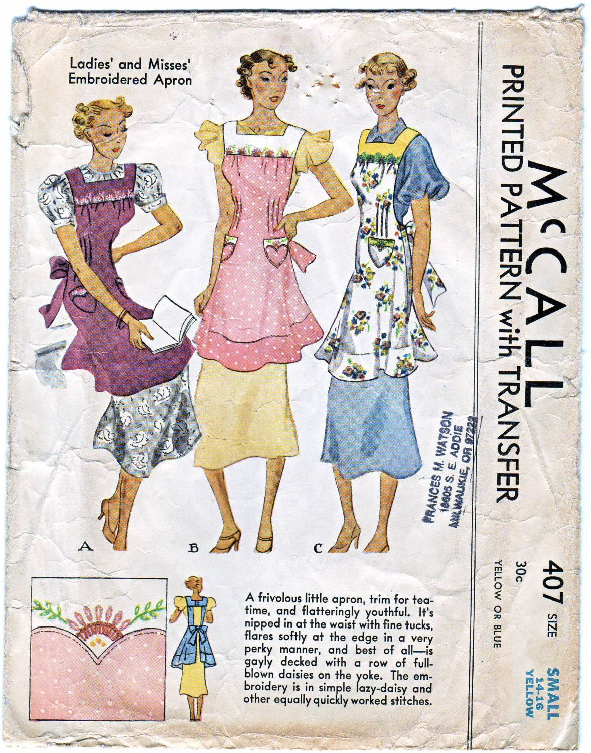 Vintage Orig 1930s McCall 407 Yoked Bib Pinafore Apron Nipped Waist Tucks Patch Pockets Embroidery Transfer Sewing Pattern Size Small by BizzieLizzies on Etsy