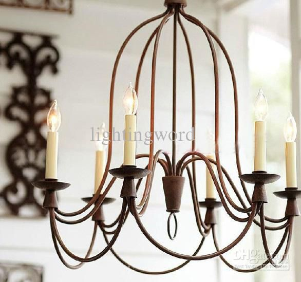 Nordic Mediterranean Iron Art Chandelier Bend Pipe Light Fxiture – Rustic Wrought Iron Chandelier