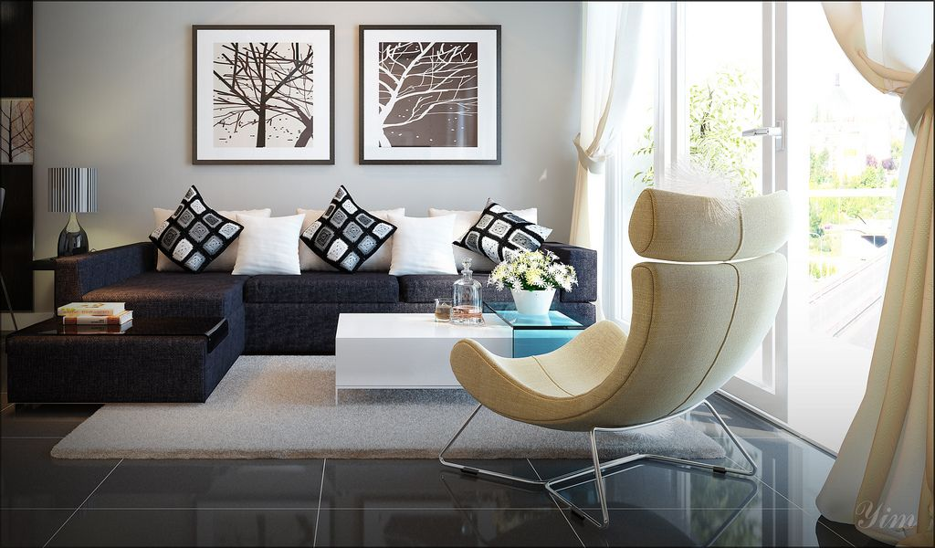 A modern living room...I am loving that light-colored chair. I ...