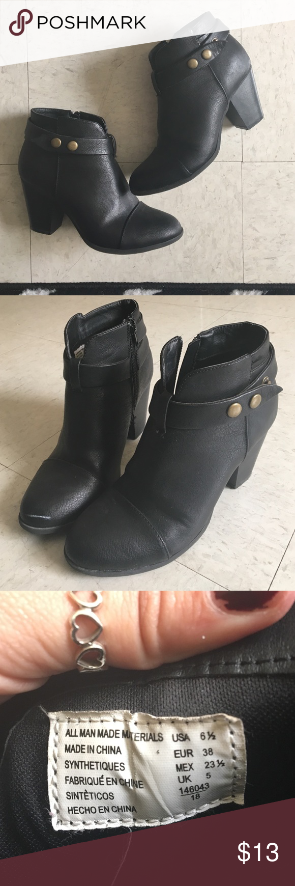 Black Ankle Boots Great for casual or dressy-casual attire! Has a couple of scuffs/marks. Good condition. Worn only 5-10 times. Shoes Ankle Boots & Booties