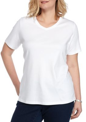 4c510371838 Kim Rogers White Plus Size Solid V Neck Top