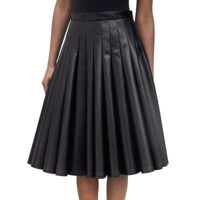 Junya Watanabe black pleated leather skirt under the knee | Junya ...