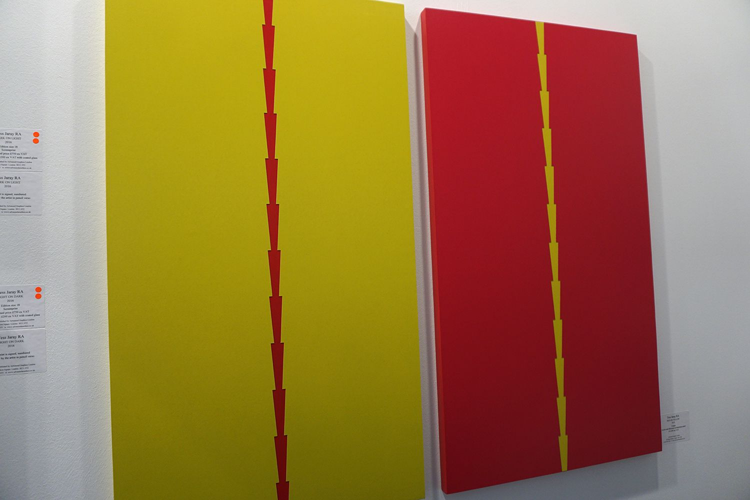 """Red on Yellow""  Tess Jaray at Advanced Graphics Gallery #LondonArtFair2016 #LAF2016 #London #ArtFair #ContemporaryArt #ArteContemporáneo #ContemporaryArt #Arterecord  2016 https://twitter.com/arterecord"