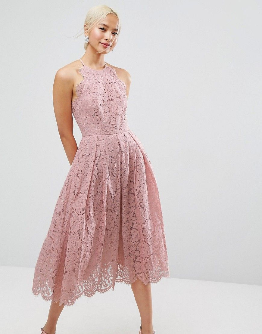 ASOS Lace Pinny Scallop Edge Prom Midi Dress - Pink | Short Dresses ...