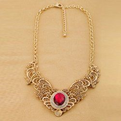 $5.62 Exquisite Gemstone Embellished Hollow Design Pendant Alloy Necklace For Men and Women