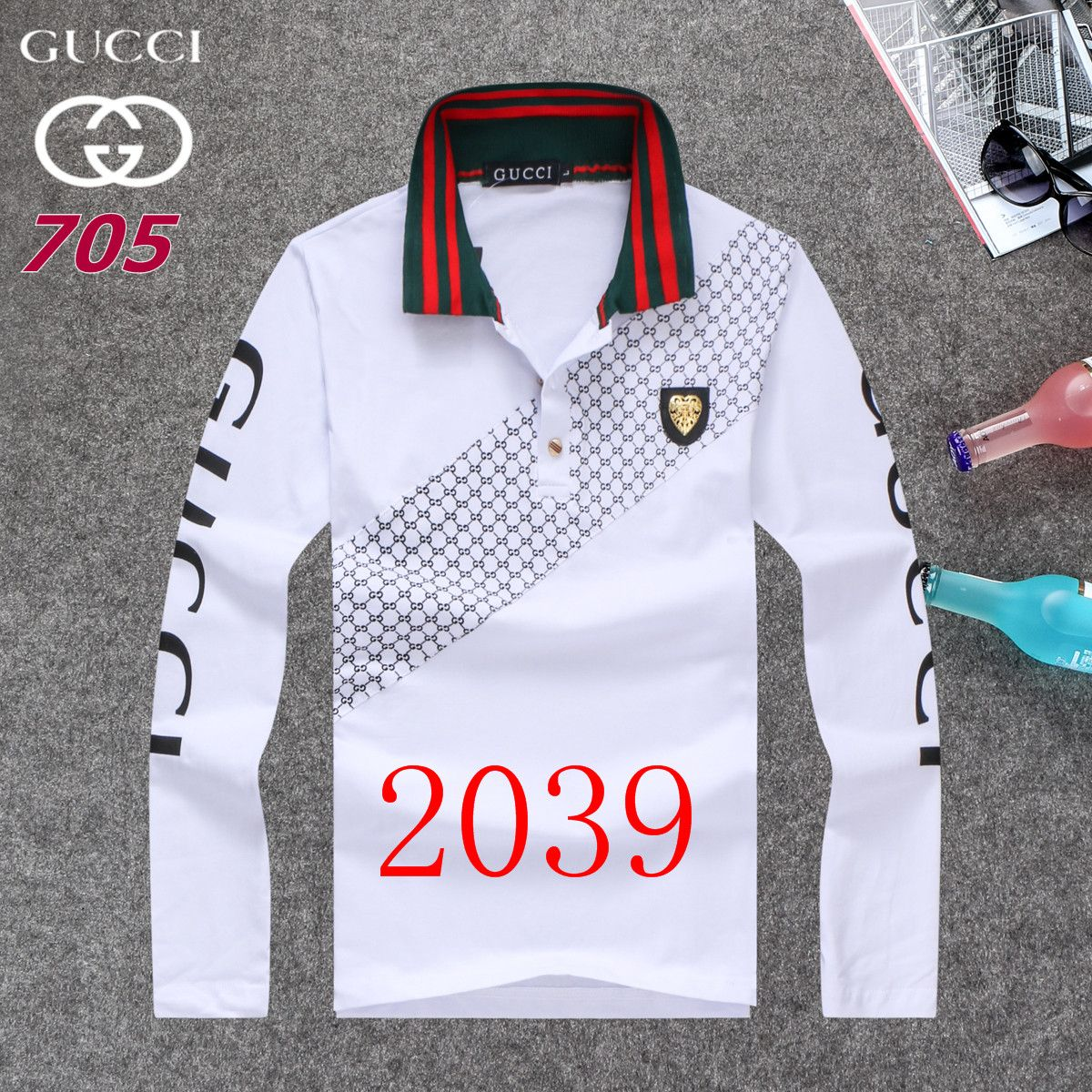 Gucci Long Sleeve Polo Shirts Men Gg86881 Pimp Stuff