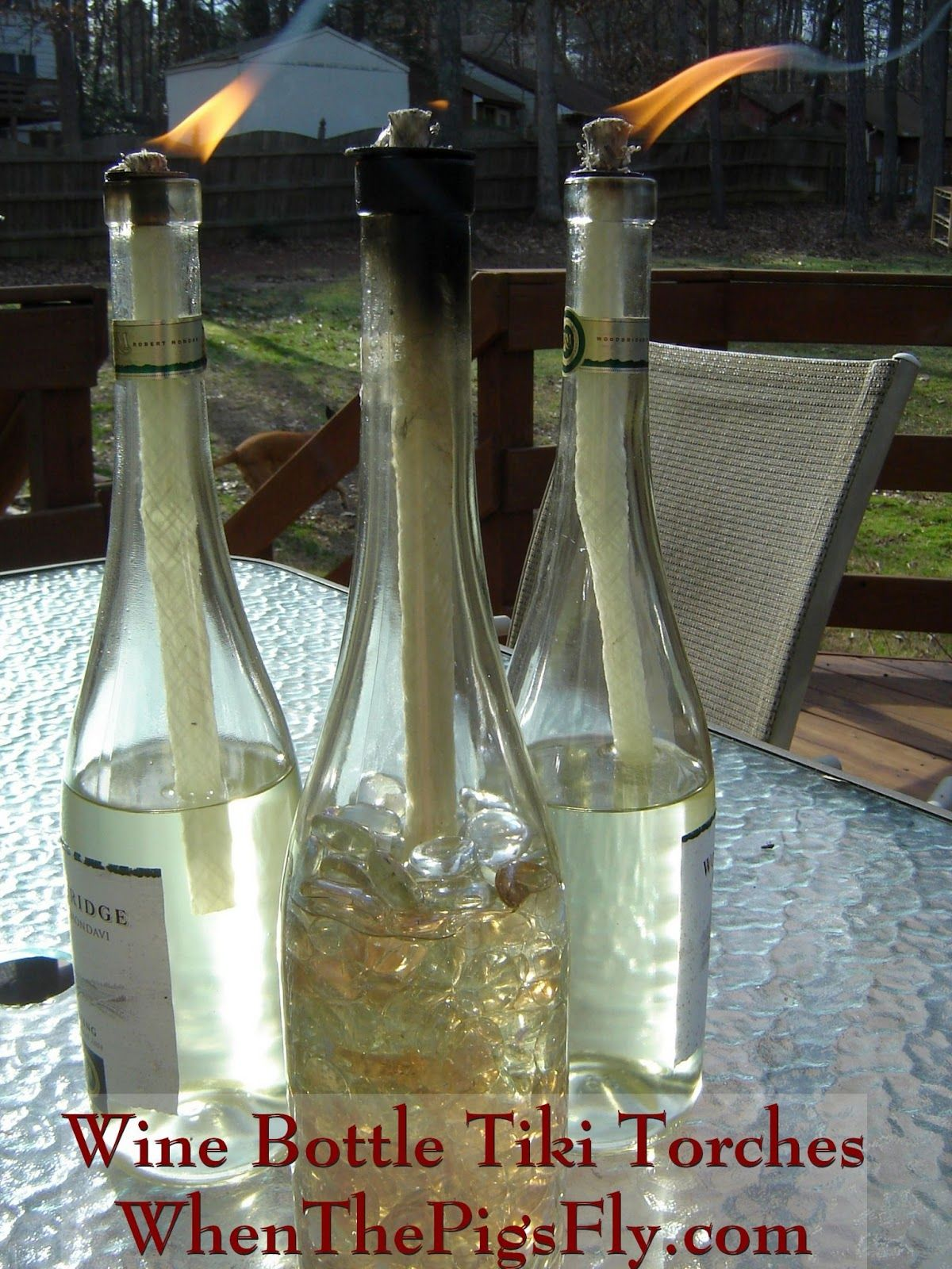 What to do with empty wine bottles - Reuse Your Empty Wine Bottles By Making Mosquito Combating Tiki Torches With Them Citronella Oil When The Pigs Fly Diy Wine Bottle Tiki Torches