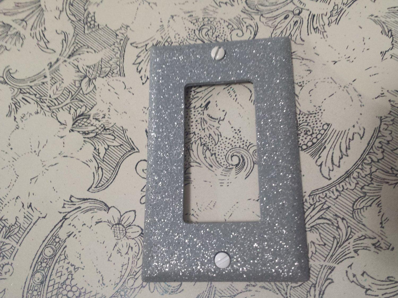 Decorative Light Switch Plates Matte Gray Finish Silver Glitter Decorative Bling Light Switch
