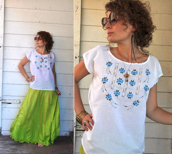 Floral Embroidered White with Blue Stitched & See by LaDeaDeiSogni, $78.00
