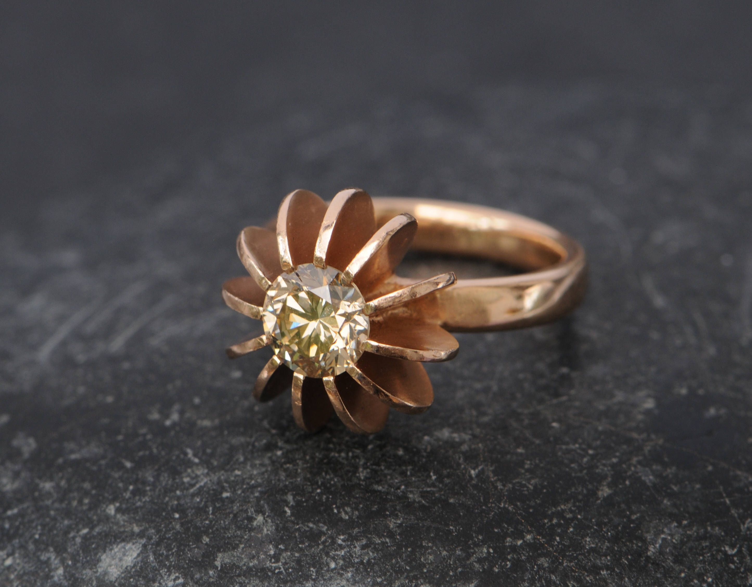 rings thorn diamond orange champagne gold product back and rose ring engagement