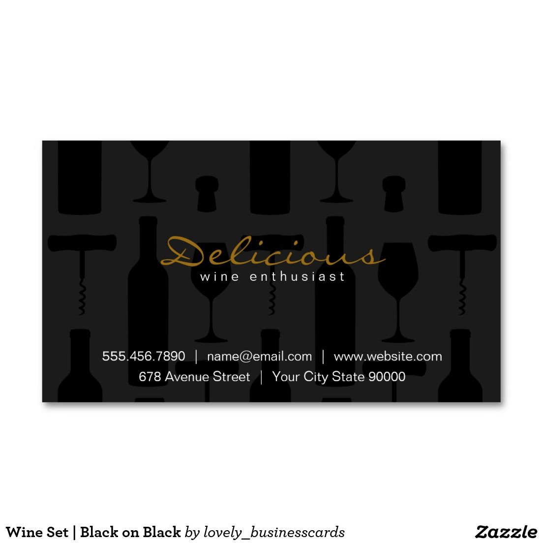Wine Set Black On Black Standard Business Card Wine Vineyard