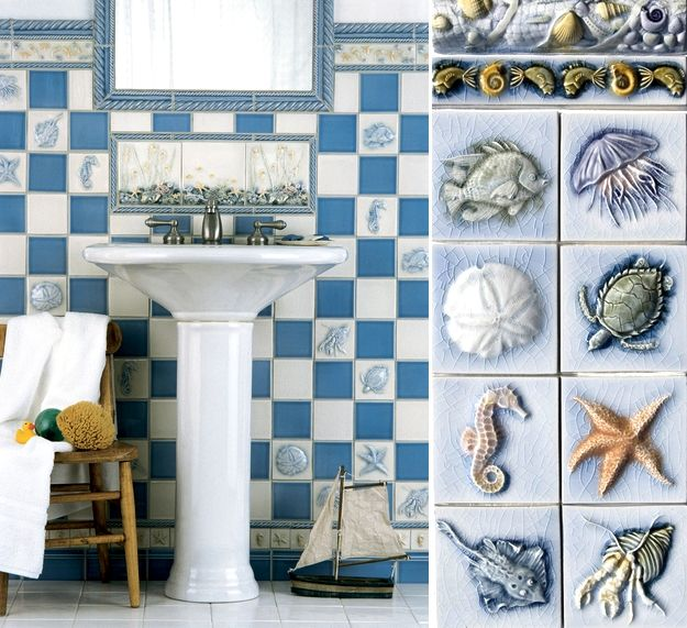 Beach Tile Art For Bathrooms And Kitchens Inspired From The Beach Beach Theme Bathroom Beach Cottages Beach Bathrooms