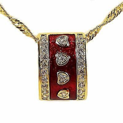 Red Heart Pendant Necklace 24k Gold Bonded Cubic Zirconia Enamel n112g