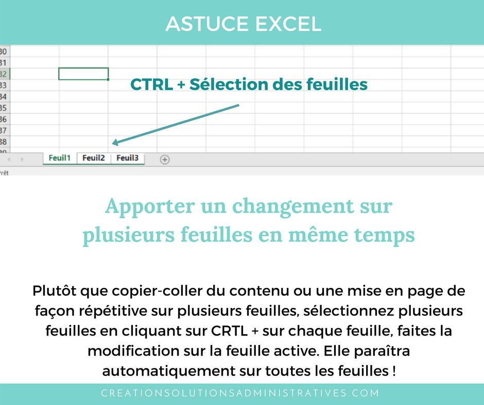 Astuce Excel Apporter un changement sur plusieurs