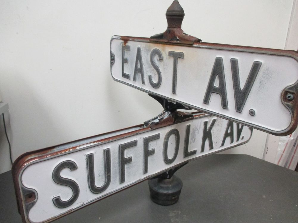 1007a8acf29 Vintage Metal New York Embossed Street Sign Bracket Suffolk Ave   East Ave  NY